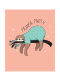Cute Hand Drawn Sloths  Funny Vector Illustration  Poster and Greeting Card  Party Invitation