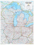 2014 Great Lakes US - National Geographic Atlas of the World, 10th Edition Reproduction d'art