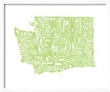 Typographic Washington Green Reproduction encadrée par CAPow