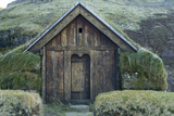 View of an Old Thatched Roof Viking House on Iceland's South Coast