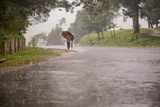 A Young Boy Walks Through the Rain under an Umbrella While Using a Second as a Walking Stick