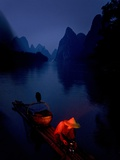 The Li River at Night in Guilin  Guangxi Province  China