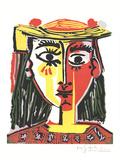 Portrait of a Woman in a Hat with Pompoms and a Printed Blouse Reproduction d'art par Pablo Picasso