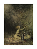 Young Girl and Bat-Like Creatures - Illustration by Arthur Rackham