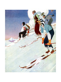 Young People Skiing - French Illustration by René Vincent (1879 -1936)