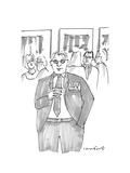 """Man at event wearing a badge that says """"Hello: I'm A Wreck"""" - New Yorker Cartoon"""