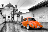 ¡Viva Mexico! B&W Collection - Orange VW Beetle Car in San Cristobal de Las Casas