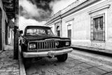 ¡Viva Mexico! B&W Collection - Old Black Jeep in San Cristobal de Las Casas