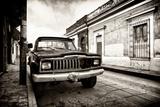 ¡Viva Mexico! B&W Collection - Old Black Jeep in San Cristobal de Las Casas II