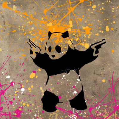 Panda with Guns Giclee Print