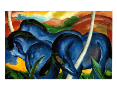 The Large Blue Horses, 1911 Art Print