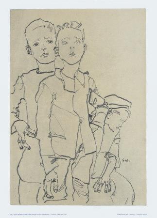 Group of Three Street-Boys, 1910 - Art Print