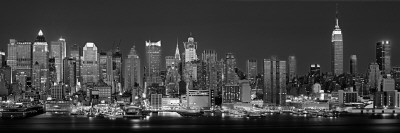 West Side Skyline at Night in Black and White, New York, USA Photographic Print