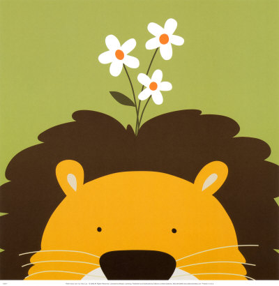 Peek-a-Boo IX, Lion Art Print