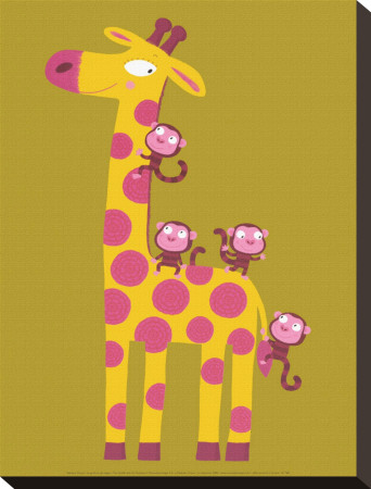 The Giraffe and the Monkeys - Stretched Canvas Print