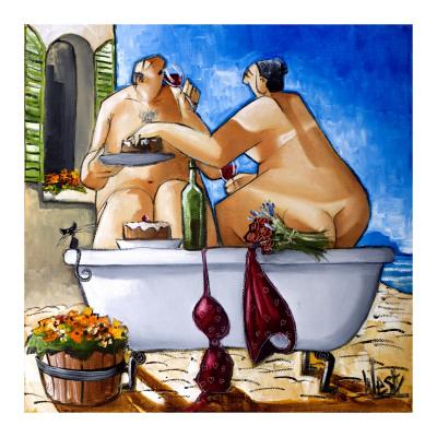 Couple Bathing Art Print