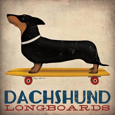 Dachshund Longboards Art Print