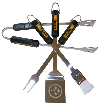 NFL Pittsburgh Steelers Four Piece Stainless Steel BBQ Set BBQ Grill Set