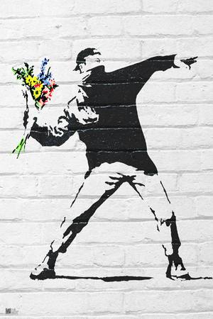 Banksy- Rage, Flower Thrower Poster