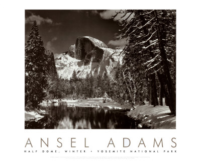 Half Dome, Merced River, Winter Art Print