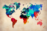 World Watercolor Map 1 World Map in Watercolorpurple and Blue World Map Watercolor (Cool)