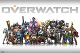 Overwatch Characters Centred Minecraft- World Rapture Retro Travel Poster video games