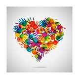 Colored Heart From Hand Print Icons Boundlessness in Bloom Mr Deer and Mrs Rabbit Kitty Throne Floral Quote I Indigo
