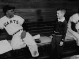 Baseball Player Willie Mays Talking to a Young Fan Giants Player, Willie Mays, Running to Catch Ball in Out Field Candlestick Park AT&T Park - San Francisco, California San Francisco Giants- Buster Posey 2016