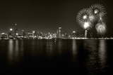 Chicago Lakefront Skyline With Fireworks BW Night Sky Filled with Fireworks Fireworks at the Brandenburg Gate in Berlin, Germany Commemorating the Fall of the Berlin Wall