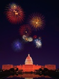 United States Capitol Building and Fireworks St. Louis Gateway Arch with Fireworks Chicago Lakefront Skyline With Fireworks BW Night Sky Filled with Fireworks Fireworks at the Brandenburg Gate in Berlin, Germany Commemorating the Fall of the Berlin Wall