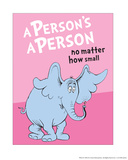 Horton Hears a Who: A Person's a Person (on pink) E is for Elephant (blue) One Fish Two Fish Ocean Collection II - Two Fish (ocean) R is for Rhino (green) Horton Hears a Who (on yellow) Seuss Treasures Collection III - The Cat in the Hat (white) M - I Do So Like Them, Sam I Am. (on blue) The Cat in the Hat (on blue) A is for Antlers (red) Ready for Anything (blue) The Cat in the Hat (on yellow)