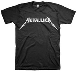 Metallica - Logo BB King Performing on Stage using Black Les Paul in Grey Suit with White Cuffs and Collar Shirt band shirt