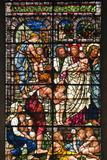 England, Salisbury, Salisbury Cathedral, Stained Glass Window, Jesus with Children