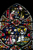 England, Salisbury, Salisbury Cathedral, Stained Glass Window, Scenes from The New Testament Salisbury Cathedral from the Bishop's Garden, 1826