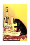 Absinthe Bourgeois Poster Advertising an Exhibition of the Collection Du Chat Noir Cabaret at the Hotel Drouot, Paris Paws Movie Curiosity