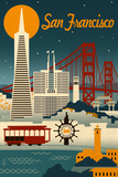 San Francisco, California - Retro Skyline Golden Gate Bridge Sunset - 75th Anniversary - San Francisco, CA San Francisco san+francisco