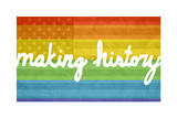 Making History - Love Wins Making History - Love Wins Pride Flag Fleece Blanket Love Wins Rainbow Flag Gay Pride Rainbow Flag Print Poster Man Hands Painted As The Rainbow Flag Forming A Heart, Symbolizing Gay Love Making History - Love Wins LGBT social movements