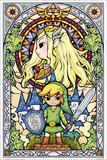 The Legend of Zelda- Stained Glass Hyrule Retro Travel Poster Zelda- Breath of the Wild Zelda
