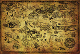 Zelda- Hyrule Map Hyrule Retro Travel Poster The Legend Of Zelda- Link D'Art The Legend Of Zelda - Link