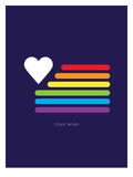 Love Wins Rainbow Flag Gay Pride Rainbow Flag Print Poster Man Hands Painted As The Rainbow Flag Forming A Heart, Symbolizing Gay Love Making History - Love Wins LGBT social movements