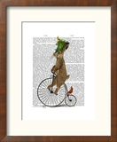 March Hare on Penny Farthing Reproduction encadrée par Fab Funky