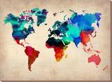 Carte du monde en aquarelle 1 Tableau sur toile par NaxArt