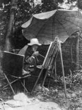 Artist Pierre Auguste Renoir Painting with Brush Tied to His Arthritic Hand  Last Days of His Life