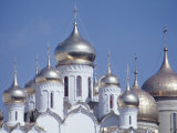 Exterior Views of Kremlin Church with Rounded Gold and White Towers