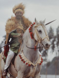 Ethiopian Horseman During British Queen Elizabeth II's Visit