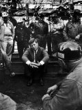 Presidential Candidate  Sen John Kennedy Chatting with Miners  Campaigning During Primaries