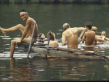 Nude Young Man on Dock  Enjoying Skinny Dipping in River at Woodstock Music and Art Festival