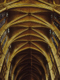 Panoramic View of Interior of Chartres Cathedral Looking up Nave Toward Main Altar
