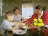 CA Gov Candidate Ronald Reagan  Wife Nancy and Son Sitting at Table Playing Checkers at Home