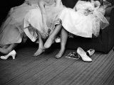 Teenage Girls Resting Feet at First Formal Dance at the Naval Armory Aluminium par Cornell Capa